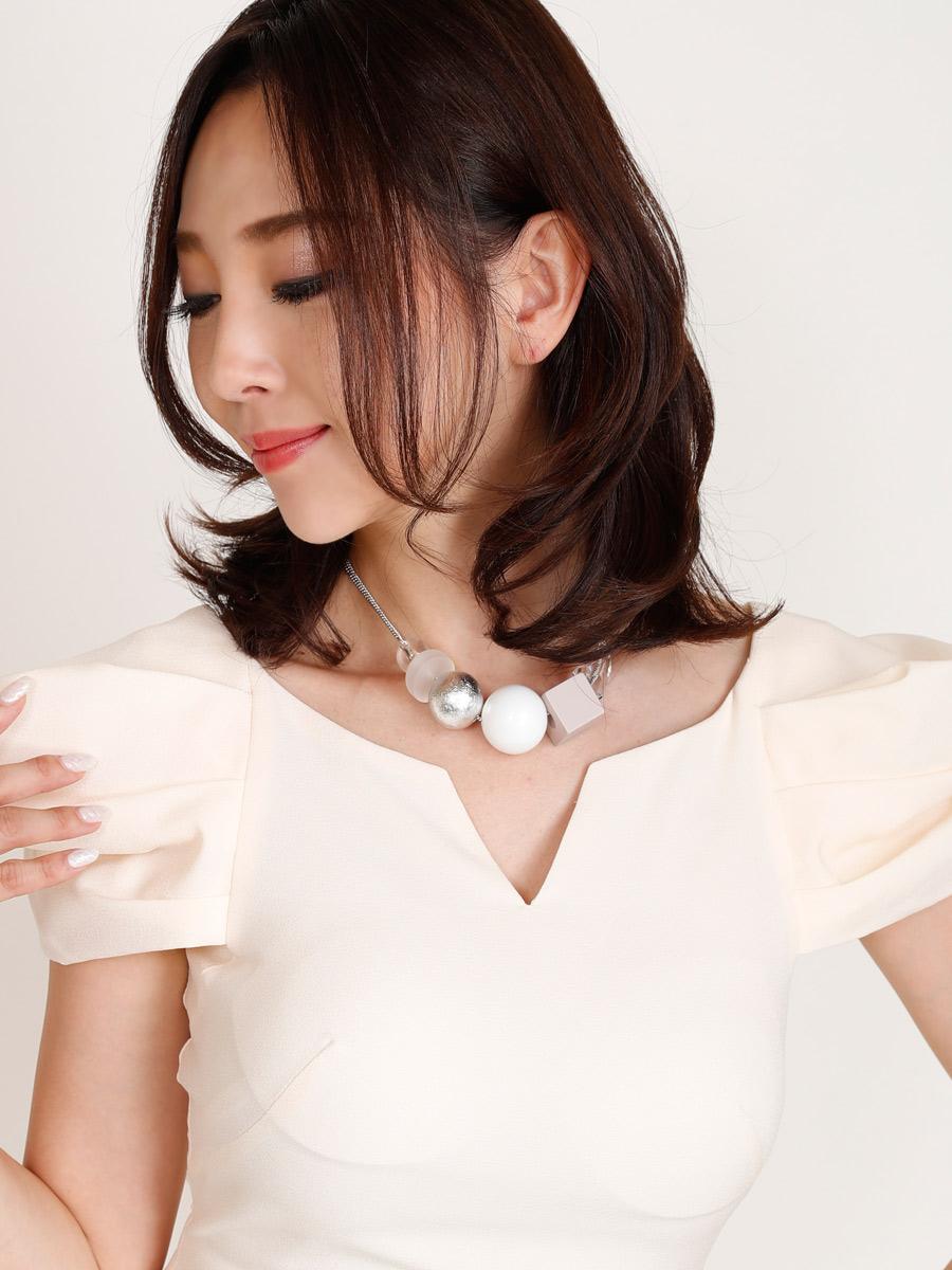 画像4: [Angel R][山崎みどり・れお着用][姉ageha]胸元カット・パフスリーブ・ボリューム袖・タイト・エレガンス・ミニドレス・ワンピース《送料&代引き手数料無料》