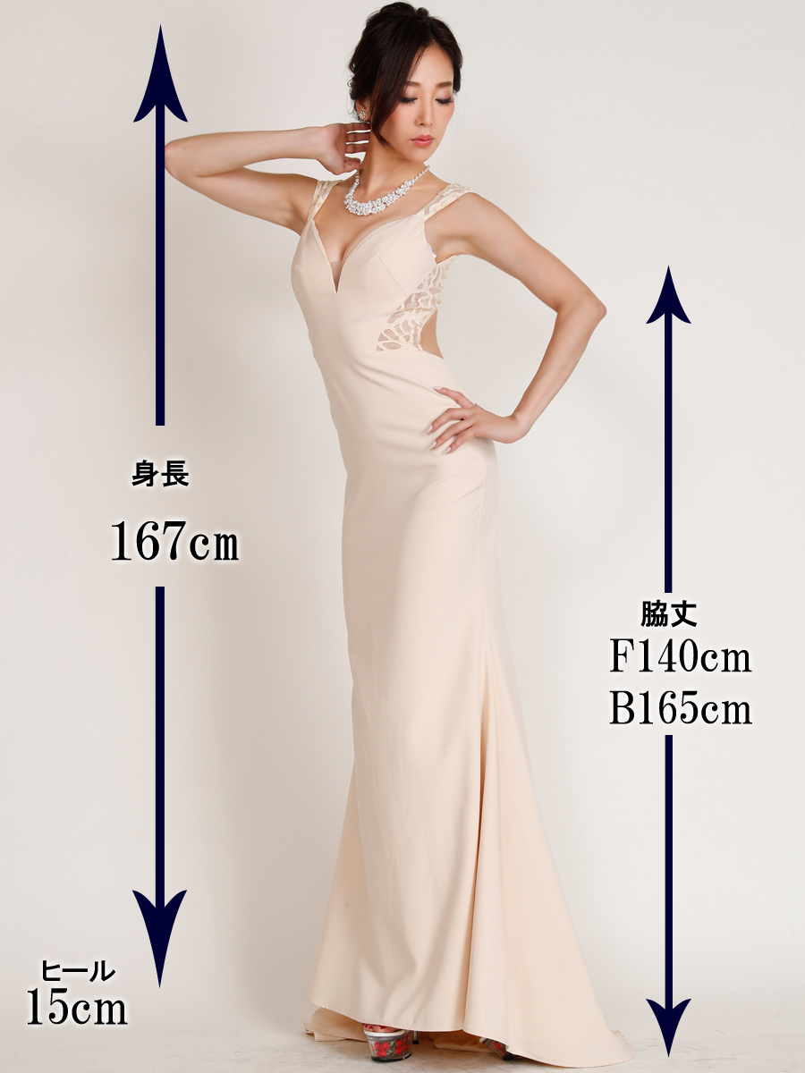 画像5: [Angel R][山崎みどり着用][姉ageha]シンプル・ハートカット・サイドレース刺繍・背中開き・マーメイド・ロングドレス《送料&代引き手数料無料》【mju】