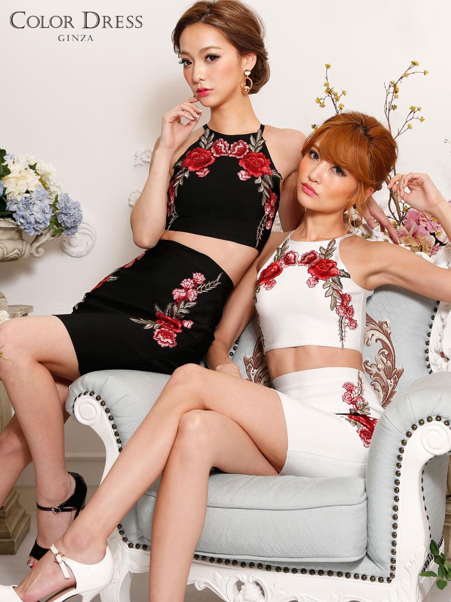 画像1: [Angel R][れお・りさ着用]フラワー・花柄・刺繍・バンテージニット・2色・タイト・ミニスカート・セットアップ・2ピース《送料&代引き手数料無料》