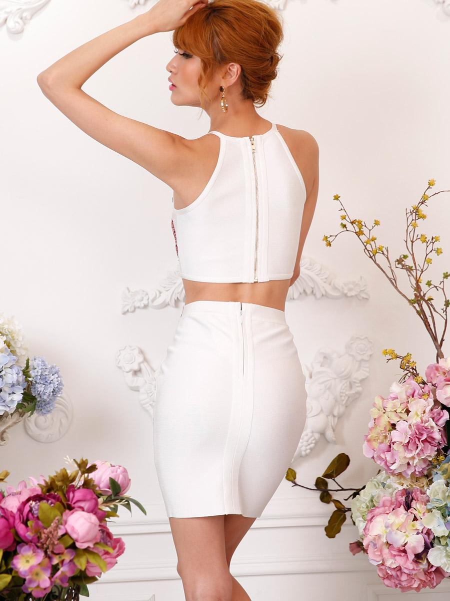 画像3: [Angel R][れお・りさ着用]フラワー・花柄・刺繍・バンテージニット・2色・タイト・ミニスカート・セットアップ・2ピース《送料&代引き手数料無料》