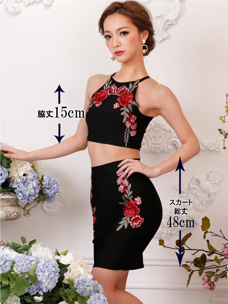 画像5: [Angel R][れお・りさ着用]フラワー・花柄・刺繍・バンテージニット・2色・タイト・ミニスカート・セットアップ・2ピース《送料&代引き手数料無料》