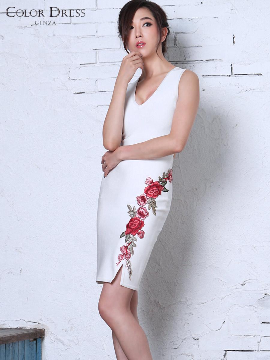 画像1: [Angel R][山崎みどり着用][姉ageha]ホワイト×赤ローズ刺繍・花柄刺繍・バンテージニット・ノースリーブ・タイト・ミニドレス《送料&代引き手数料無料》