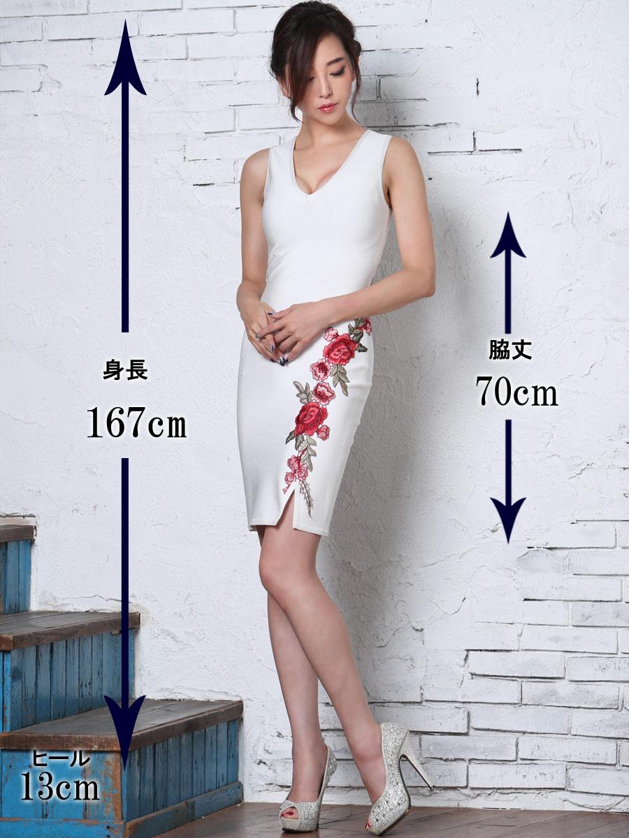 画像5: [Angel R][山崎みどり着用][姉ageha]ホワイト×赤ローズ刺繍・花柄刺繍・バンテージニット・ノースリーブ・タイト・ミニドレス《送料&代引き手数料無料》