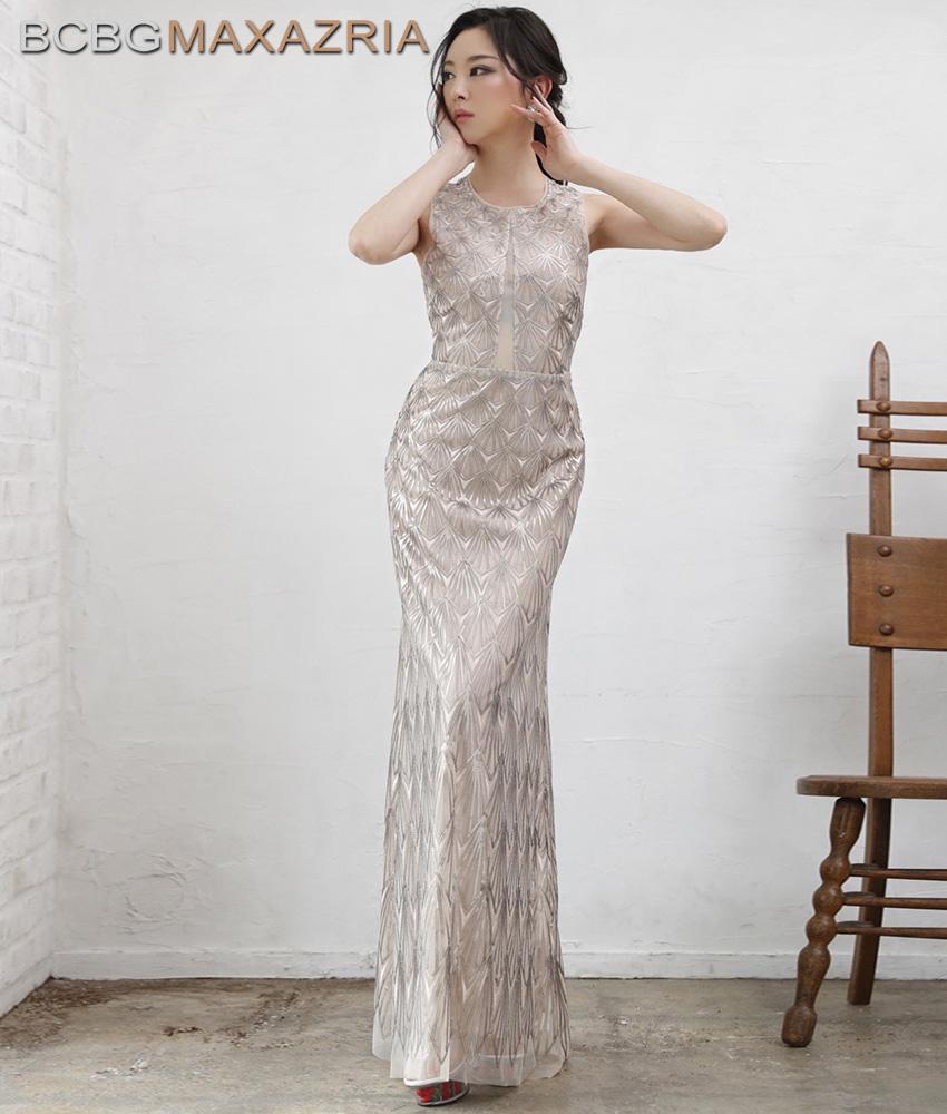 画像1: [BCBG MaxAzria]シャンパンゴールド・ノースリーブ・幾何学模様スパンコール刺繍・ロングドレス[山崎みどり着用]《送料&代引き手数料無料》