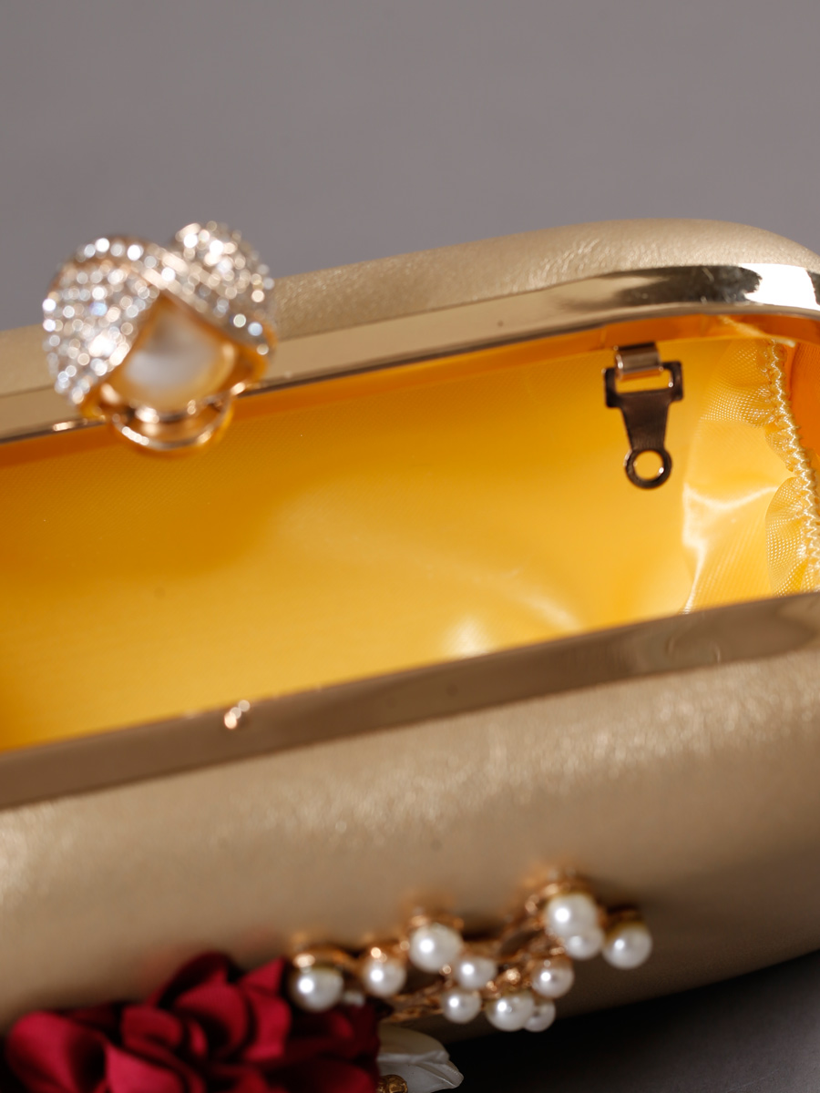 画像3: [バッグ]ゴールドベース コサージュ 留め具 パール 2WAY チェーン クラッチバッグ[送料無料]