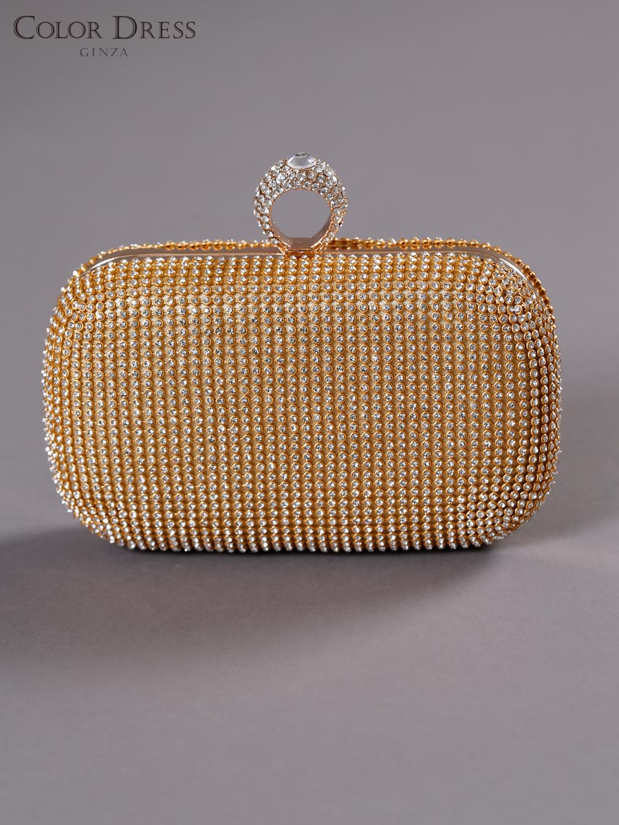 画像1: [バッグ]ゴールド×クリアストーン・豪華ビジュー・総ストーン・指輪型・3WAYチェーン・クラッチバッグ