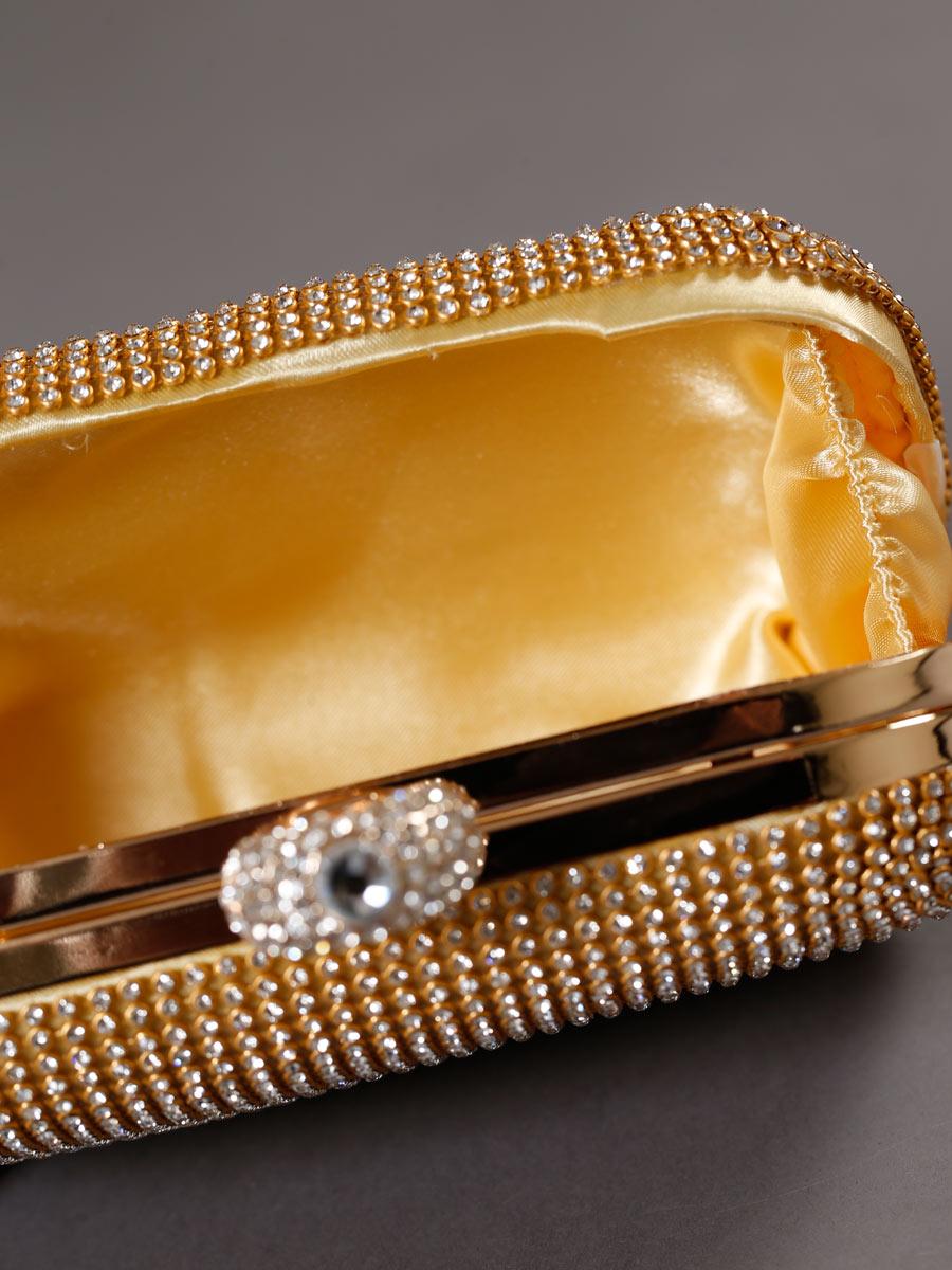 画像3: [バッグ]ゴールド×クリアストーン・豪華ビジュー・総ストーン・指輪型・3WAYチェーン・クラッチバッグ