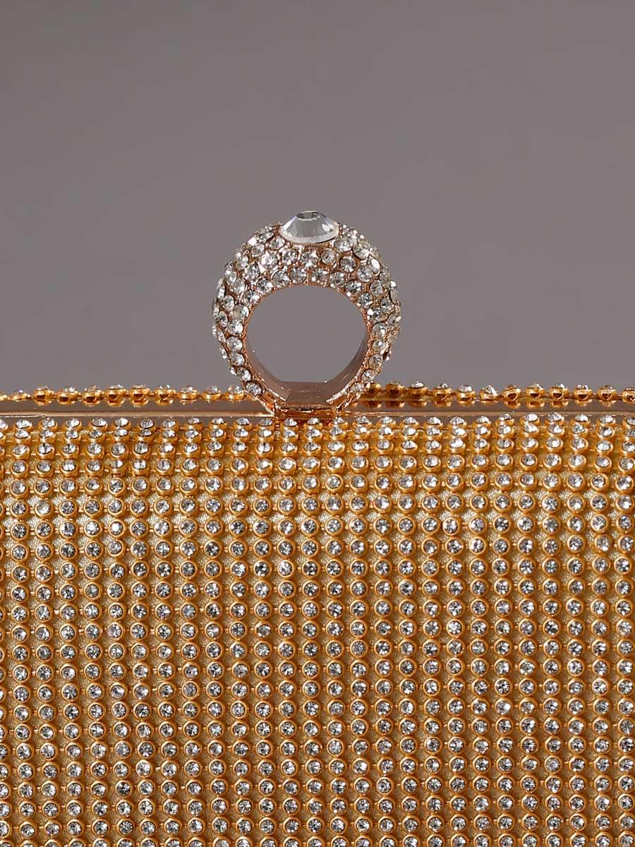 画像4: [バッグ]ゴールド×クリアストーン・豪華ビジュー・総ストーン・指輪型・3WAYチェーン・クラッチバッグ