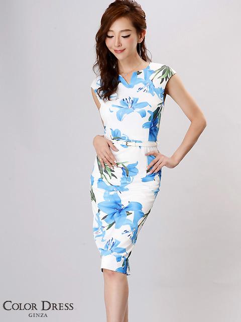 画像1: 【SALE品のため返品不可&再入荷なしの現品限り】[COLORDRESS] [山崎みどり着用][姉ageha]ホワイト×ブルー花柄・Vカット・ベルト付き・フレンチスリーブ・ミディアム・タイトドレス・ワンピース