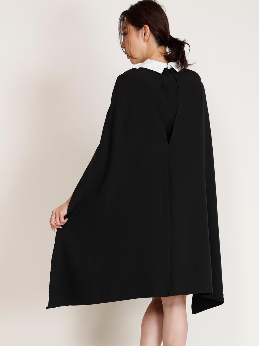 画像3: 【SALE品のため返品不可&再入荷なしの現品限り】[COLORDRESS] [山崎みどり着用][姉ageha]ブラック・ケープスリーブ・マント・シンプル・襟付き・Aライン・ミニドレス・ワンピース