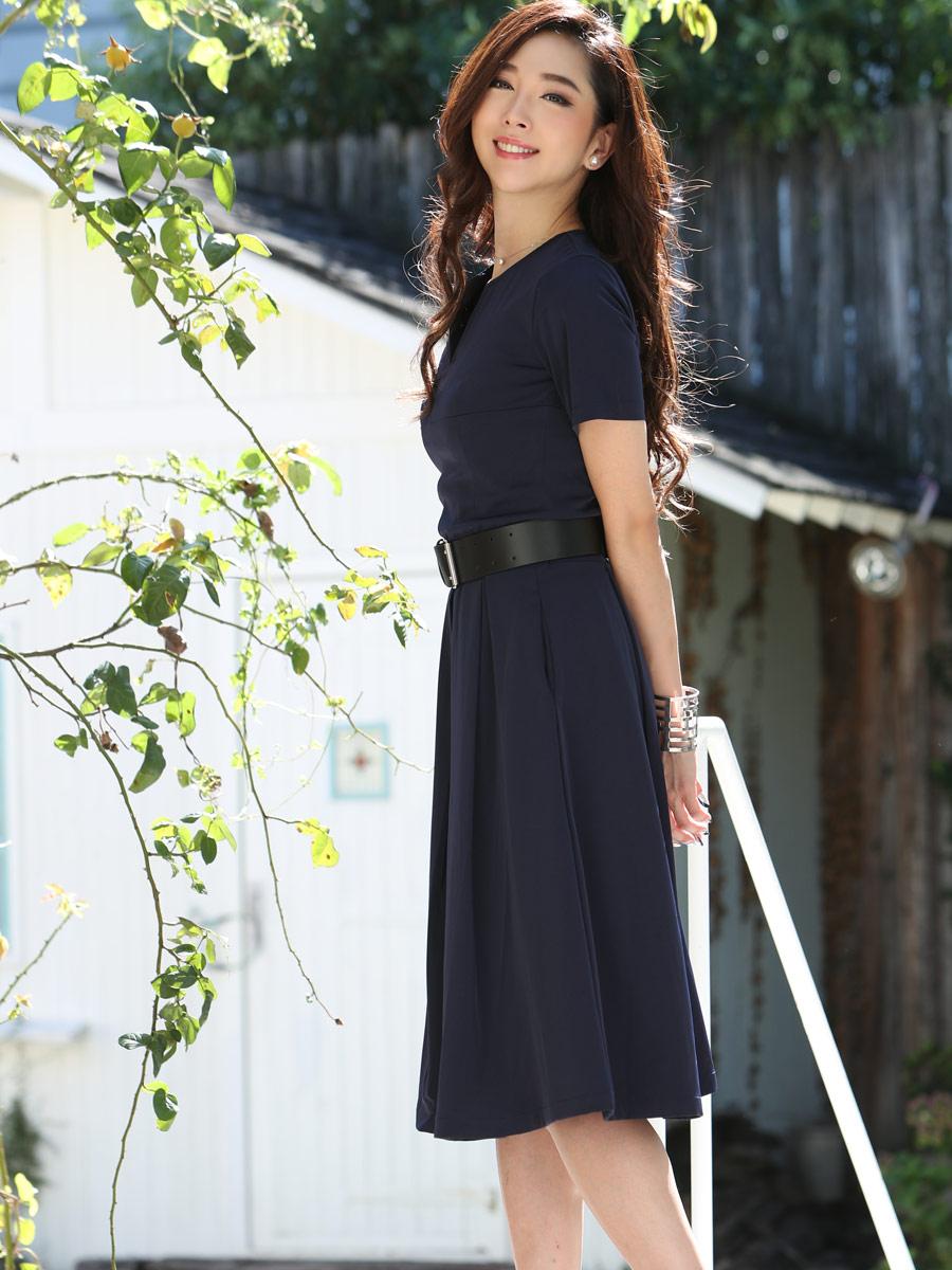 画像2: [COLORDRESS] [山崎みどり着用][姉ageha]胸元Vカット・ネイビー・ベルト付き・半袖・フレア シンプル・ミディアムドレス・ワンピース[送料無料]