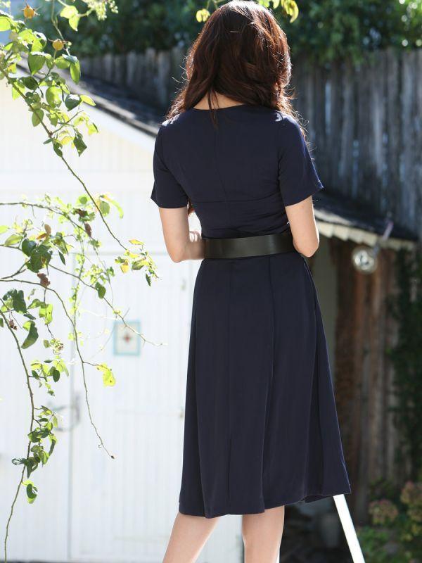 画像3: [COLORDRESS] [山崎みどり着用][姉ageha]胸元Vカット・ネイビー・ベルト付き・半袖・フレア シンプル・ミディアムドレス・ワンピース[送料無料]