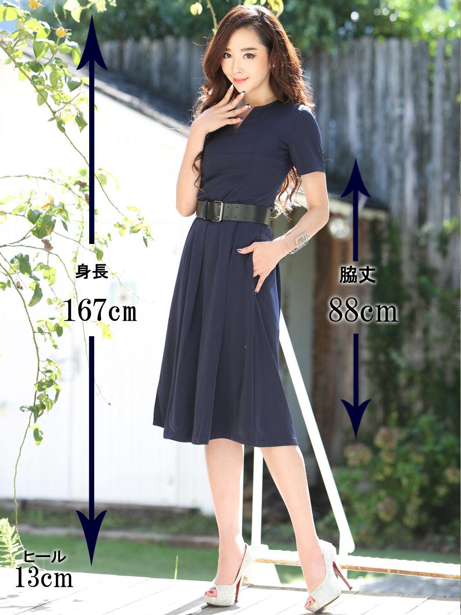 画像5: [COLORDRESS] [山崎みどり着用][姉ageha]胸元Vカット・ネイビー・ベルト付き・半袖・フレア シンプル・ミディアムドレス・ワンピース[送料無料]