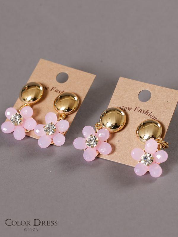 画像1: [ジュエリー][ピアス][イヤリング]ピンク系・お花型・揺れる・ストーン・ピアス・イヤリング