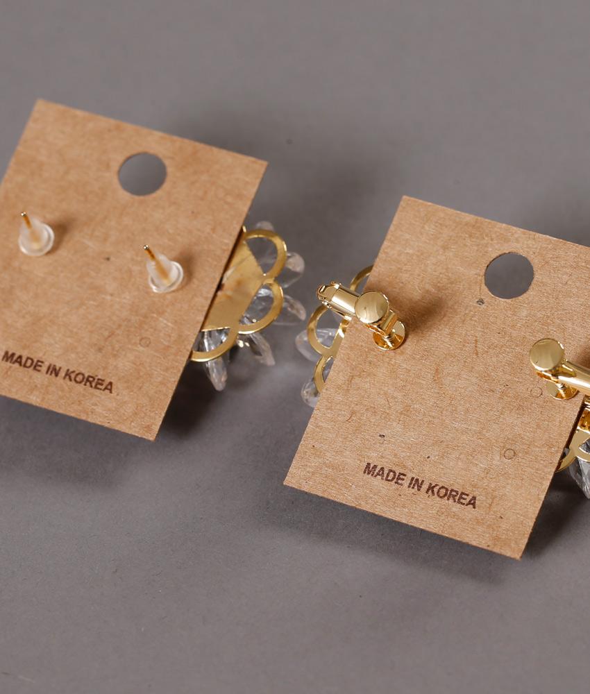 画像3: [ジュエリー][ピアス][イヤリング]クリア・お花型・花びら・ゴールド・ピンタイプ・ピアス・ねじ式・イヤリング