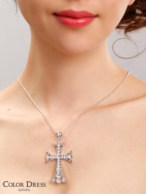 画像1: [ジュエリー]クリアストーン・ビッグ・クロス・十字架・ネックレス