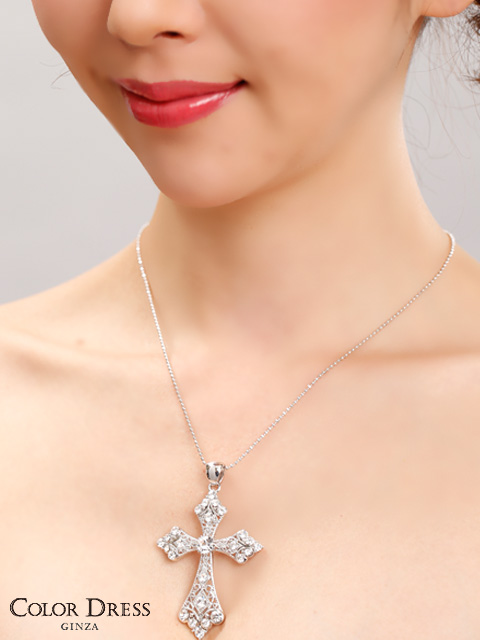 画像2: [ジュエリー]クリアストーン・ビッグ・クロス・十字架・ネックレス