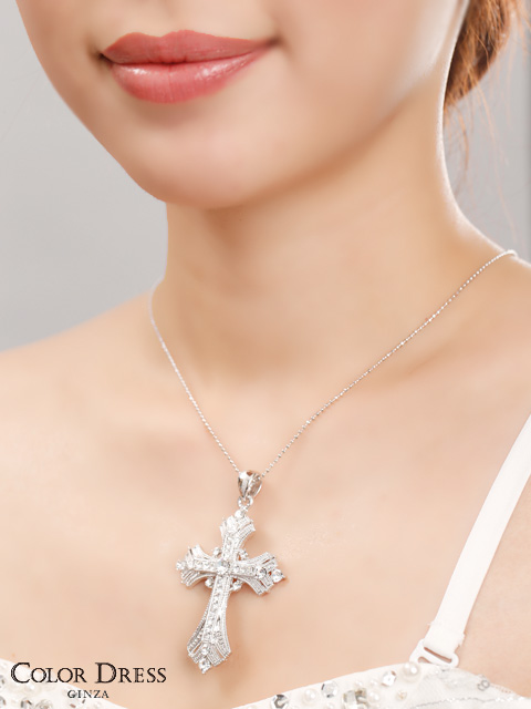 画像3: [ジュエリー]クリアストーン・ビッグ・クロス・十字架・ネックレス