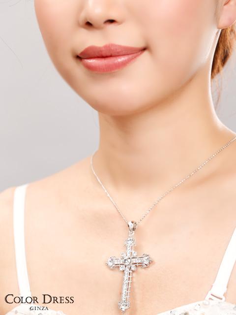 画像4: [ジュエリー]クリアストーン・ビッグ・クロス・十字架・ネックレス