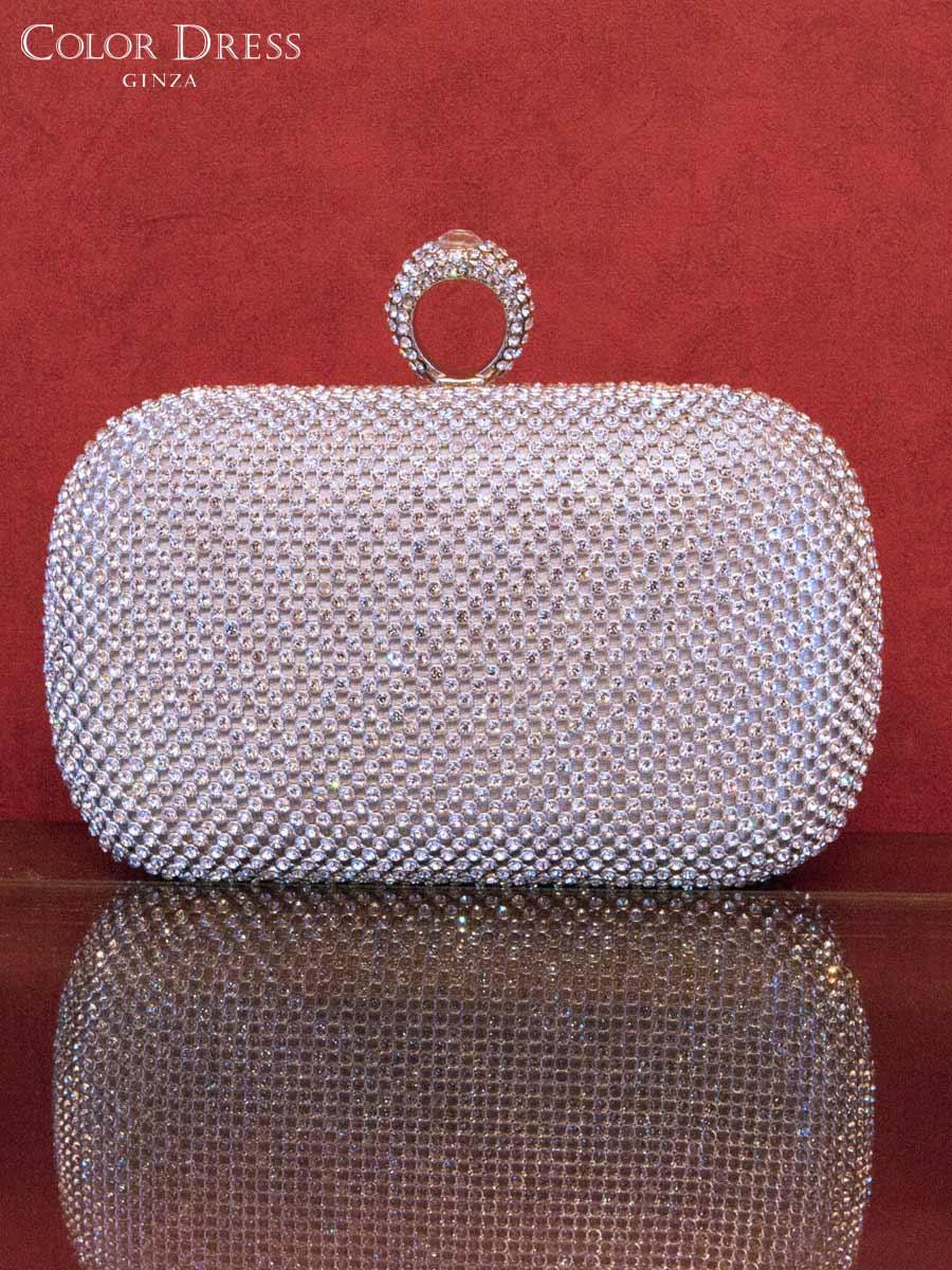 画像1: [バッグ]シルバー×クリアストーン・豪華ビジュー・総ストーン・指輪型 2WAY・チェーン・クラッチバッグ