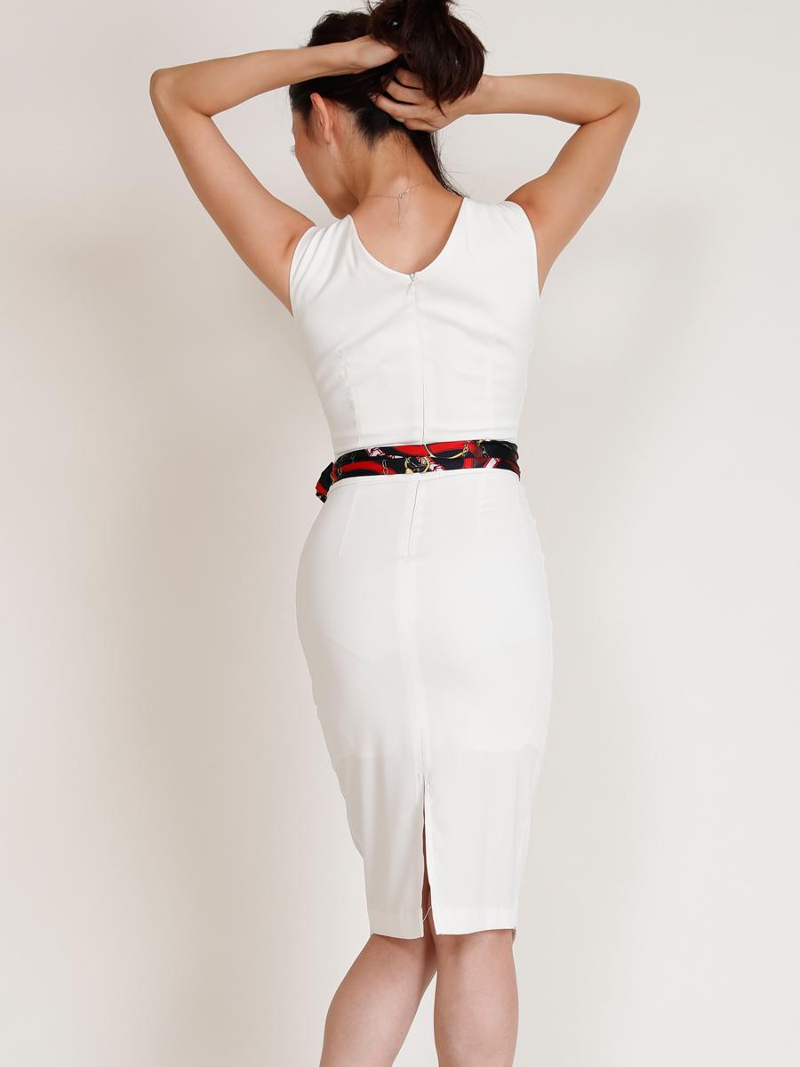 画像3: [COLORDRESS] [山崎みどり着用][姉ageha]ホワイト×スカーフ柄・Vネック・ノースリーブ・タイト・ミディアムドレス・ワンピース[送料無料]