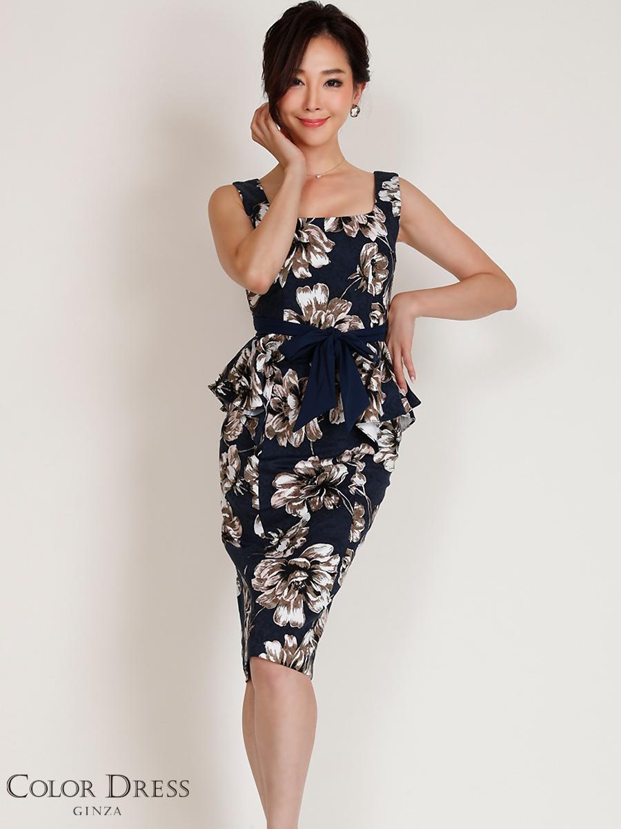 画像1: [COLORDRESS] [山崎みどり着用][姉ageha][韓国製]ネイビー・ジャガード・ペプラム・アンティーク花柄・リボン・ノースリーブ・ミディアムドレス・ワンピース[送料無料]