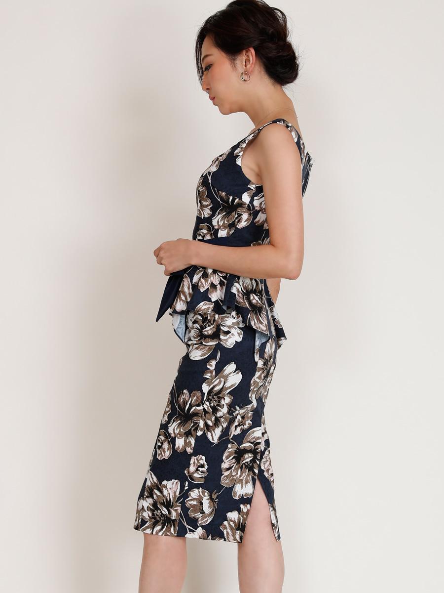画像2: [COLORDRESS] [山崎みどり着用][姉ageha][韓国製]ネイビー・ジャガード・ペプラム・アンティーク花柄・リボン・ノースリーブ・ミディアムドレス・ワンピース[送料無料]
