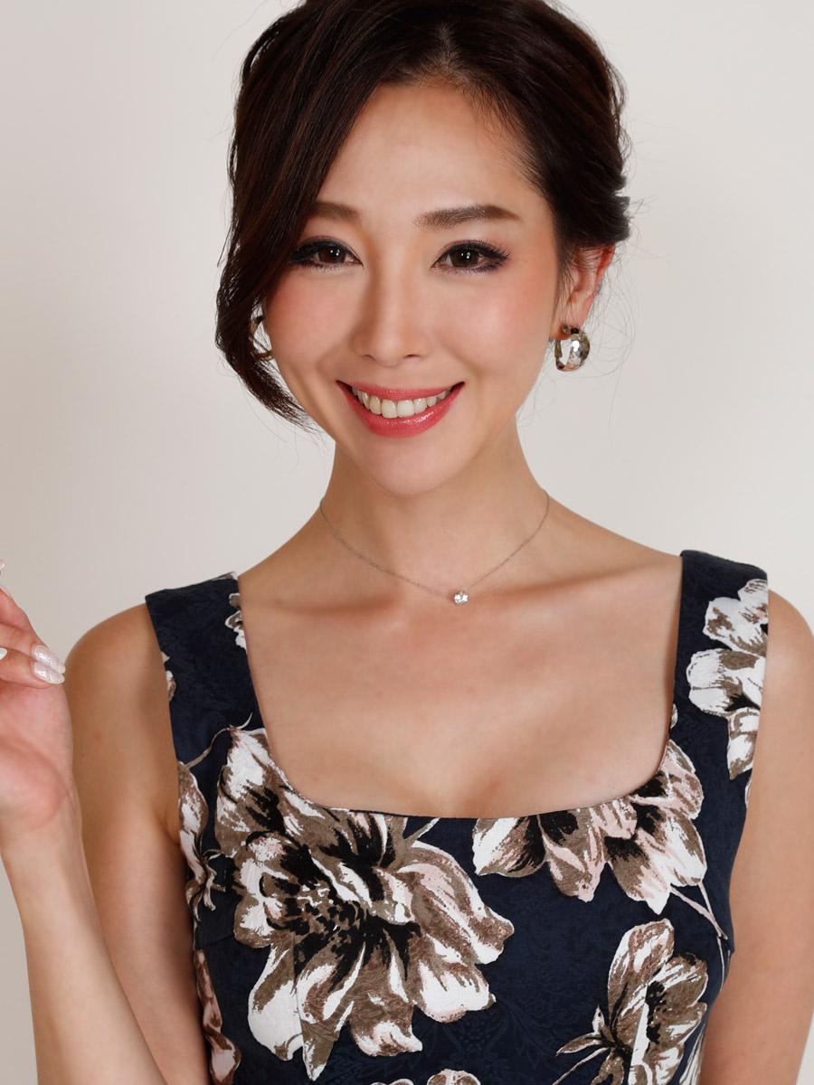 画像4: [COLORDRESS] [山崎みどり着用][姉ageha][韓国製]ネイビー・ジャガード・ペプラム・アンティーク花柄・リボン・ノースリーブ・ミディアムドレス・ワンピース[送料無料]