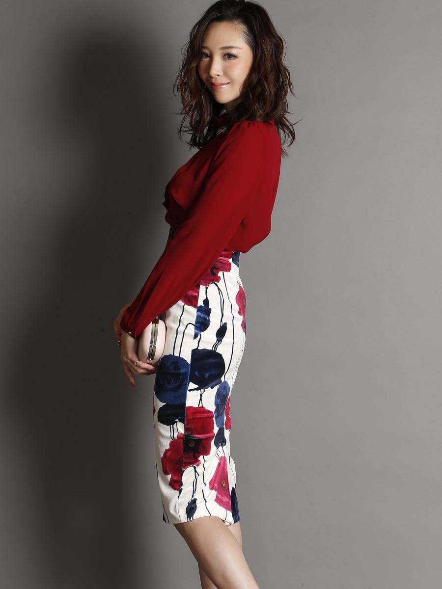 画像2: [COLORDRESS] [山崎みどり着用][姉ageha]パール付きワインレッドシフォンブラウス・花柄ミディアムスカート・セットアップ・ツーピース[送料無料]