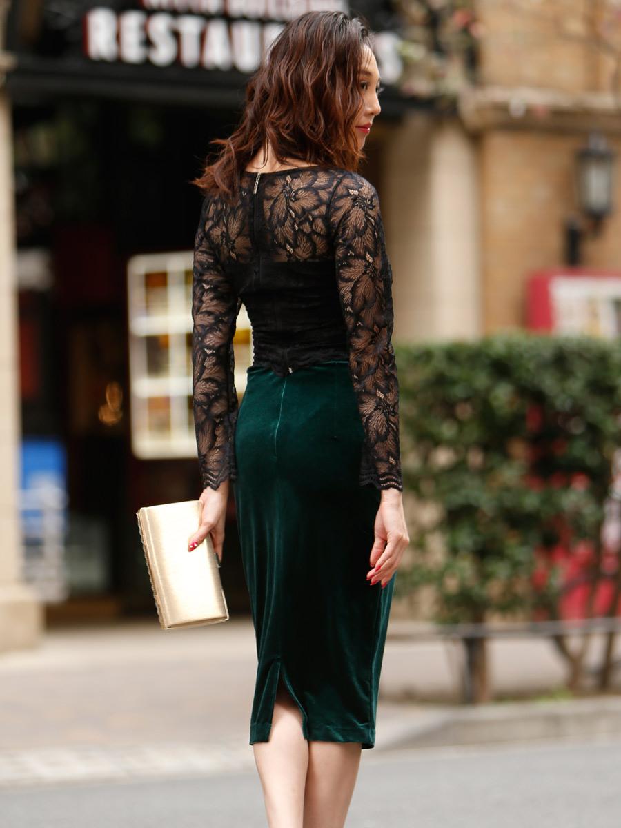 画像3: [COLORDRESS] [山崎みどり着用][姉ageha][韓国製]ブラックレース・長袖ブラウス・タイト・グリーンベロアミディアムスカート・セットアップ・ツーピース[送料無料]
