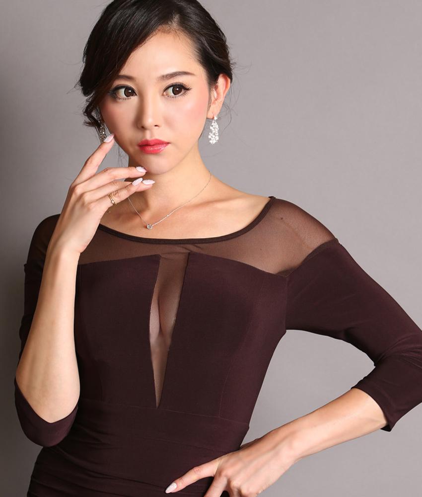 画像4: [韓国製][Rinfarre] [山崎みどり着用][姉ageha][韓国製]ブラウン・胸元&デコルテシースルー・サイドスリット・七分袖・ロングドレス[送料無料]