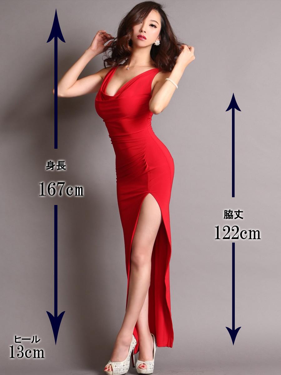 画像5: [COLORDRESS] [山崎みどり着用][姉ageha]レッド・胸元ドレープ・シンプル・ノースリーブ・サイドスリット・ロングドレス[送料無料]m_