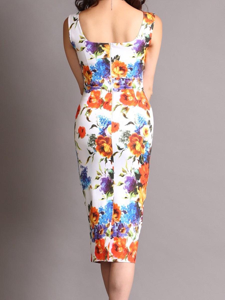 画像3: [COLORDRESS] [山崎みどり着用][姉ageha][韓国製]ホワイトベース・カラフル花柄・スクエアネック・ノースリーブ・タイト・ミディアムドレス・ワンピース[送料無料]