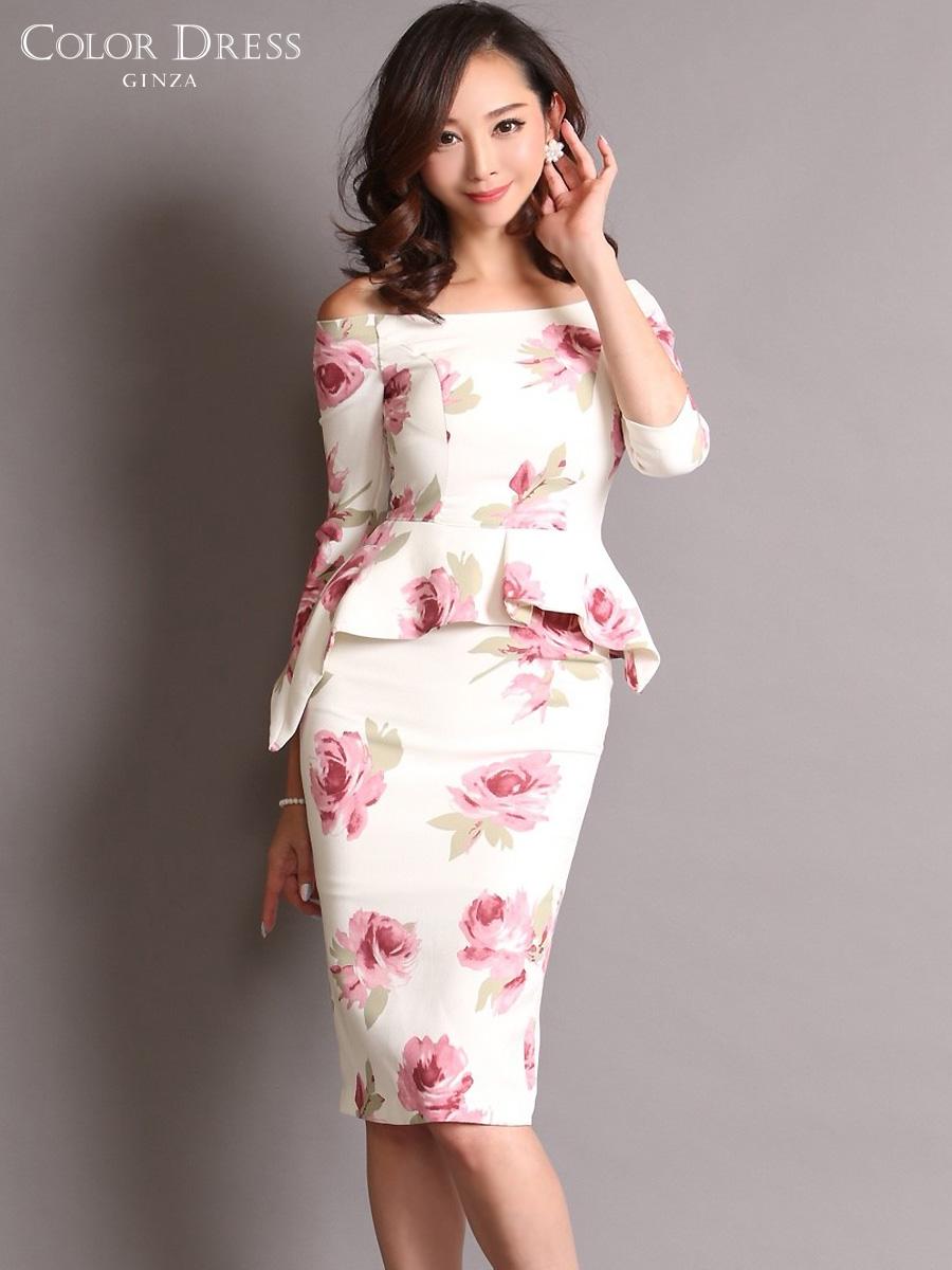 画像1: [COLORDRESS] [山崎みどり着用][姉ageha]ホワイト×ピンク花柄・ペプラム・七分袖・オフショルダー・ミディアムドレス・ワンピース[送料無料]m_