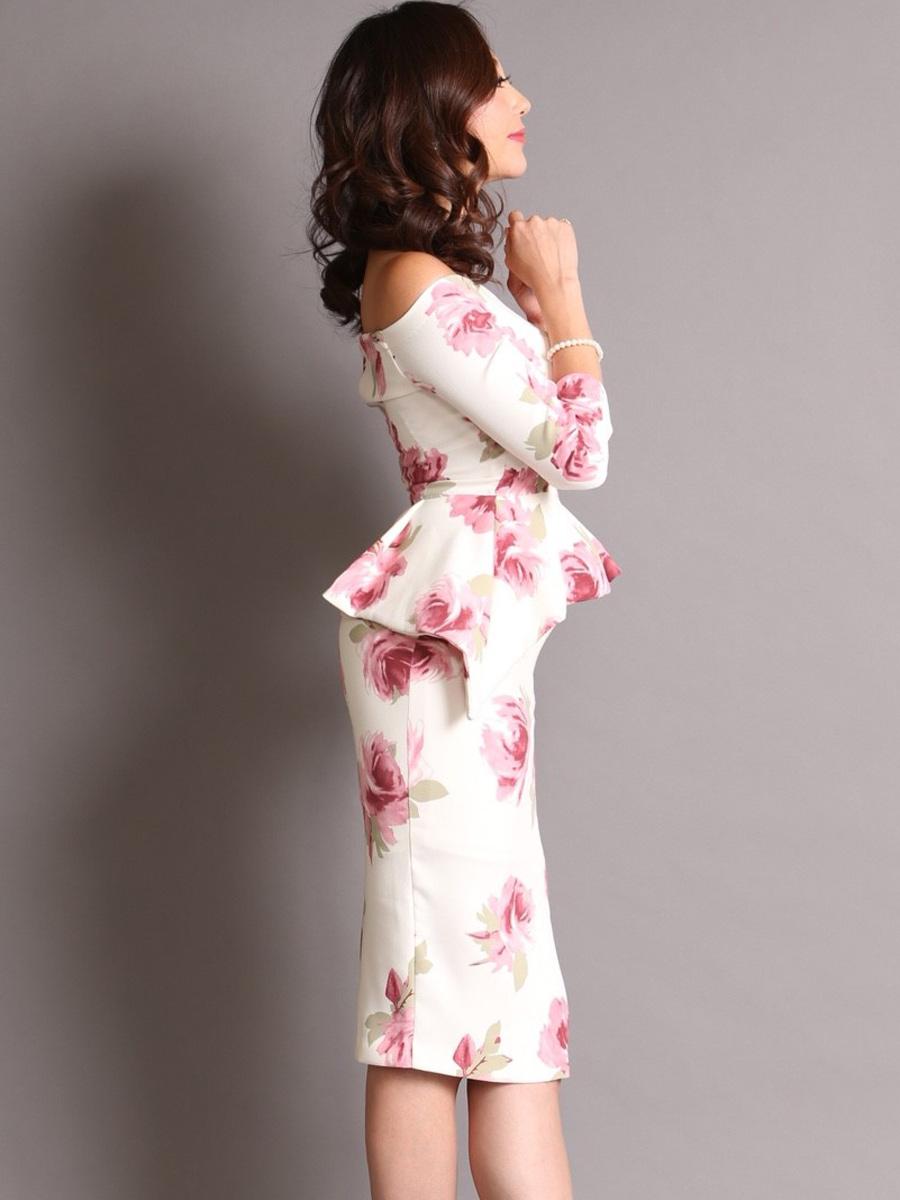 画像2: [COLORDRESS] [山崎みどり着用][姉ageha]ホワイト×ピンク花柄・ペプラム・七分袖・オフショルダー・ミディアムドレス・ワンピース[送料無料]m_