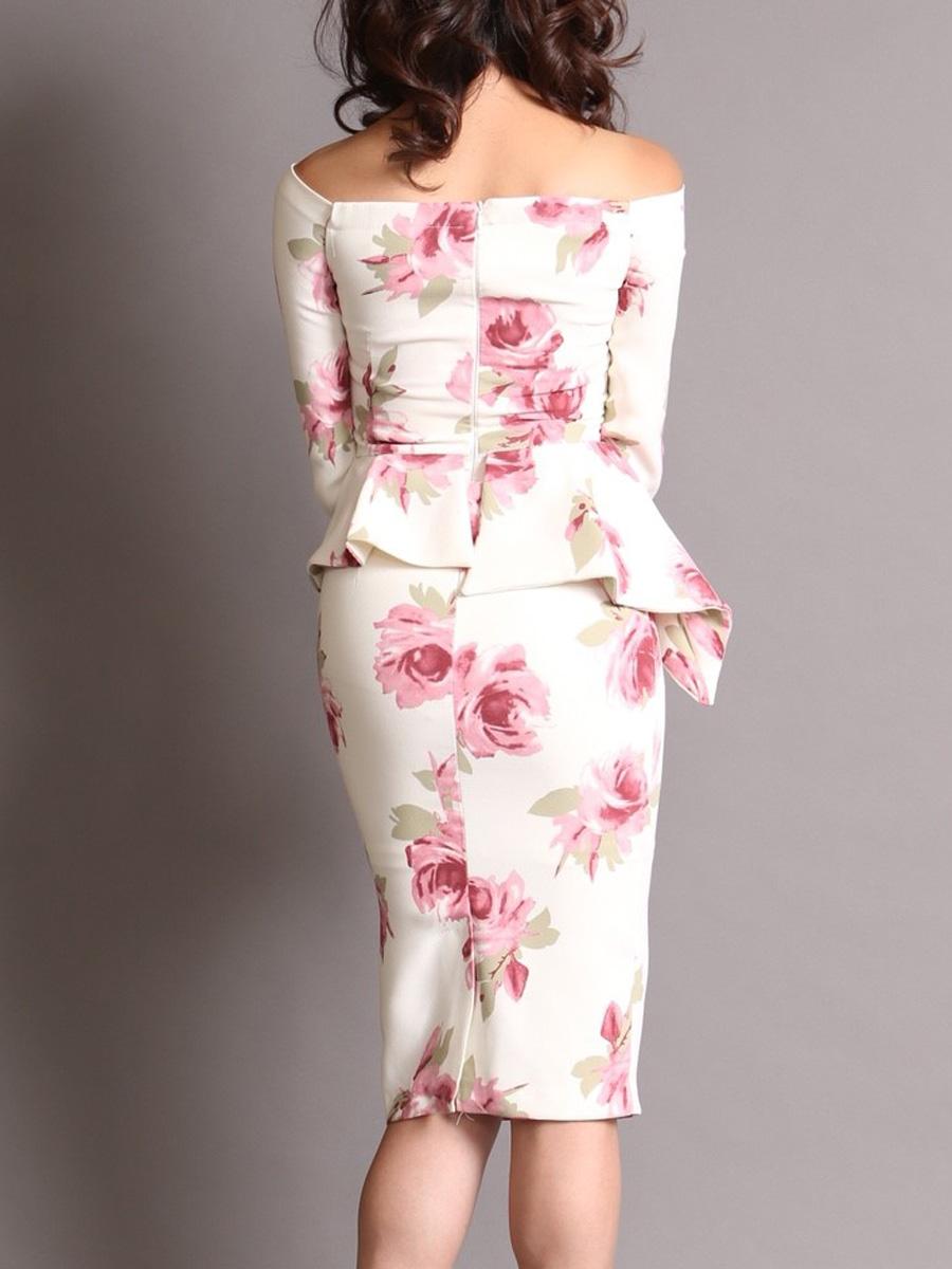 画像3: [COLORDRESS] [山崎みどり着用][姉ageha]ホワイト×ピンク花柄・ペプラム・七分袖・オフショルダー・ミディアムドレス・ワンピース[送料無料]m_