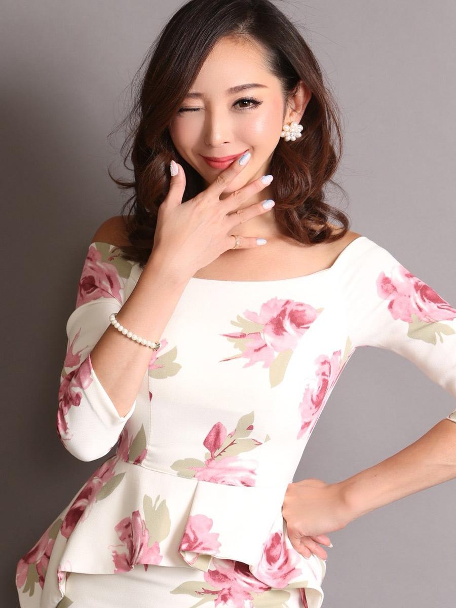 画像4: [COLORDRESS] [山崎みどり着用][姉ageha]ホワイト×ピンク花柄・ペプラム・七分袖・オフショルダー・ミディアムドレス・ワンピース[送料無料]m_