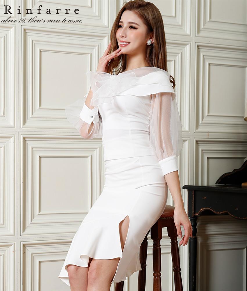 画像1: [韓国製][Rinfarre]オールホワイト・五分袖・シフォン・リボンブラウス・ミディアムスカート・セットアップ・ツーピース[MIRINちゃん着用]《送料&代引き手数料無料》
