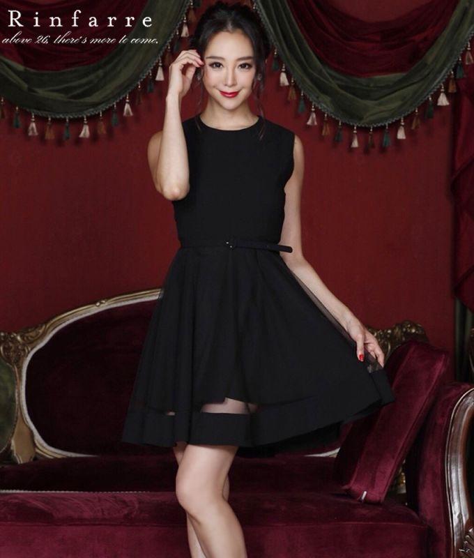 画像1: [韓国製][Rinfarre][山崎みどり着用][姉ageha]ブラック・ベルト付・裾シースルーポイント・シンプル・FF・フレア・Aライン・ノースリーブ・ミニドレス・ワンピース