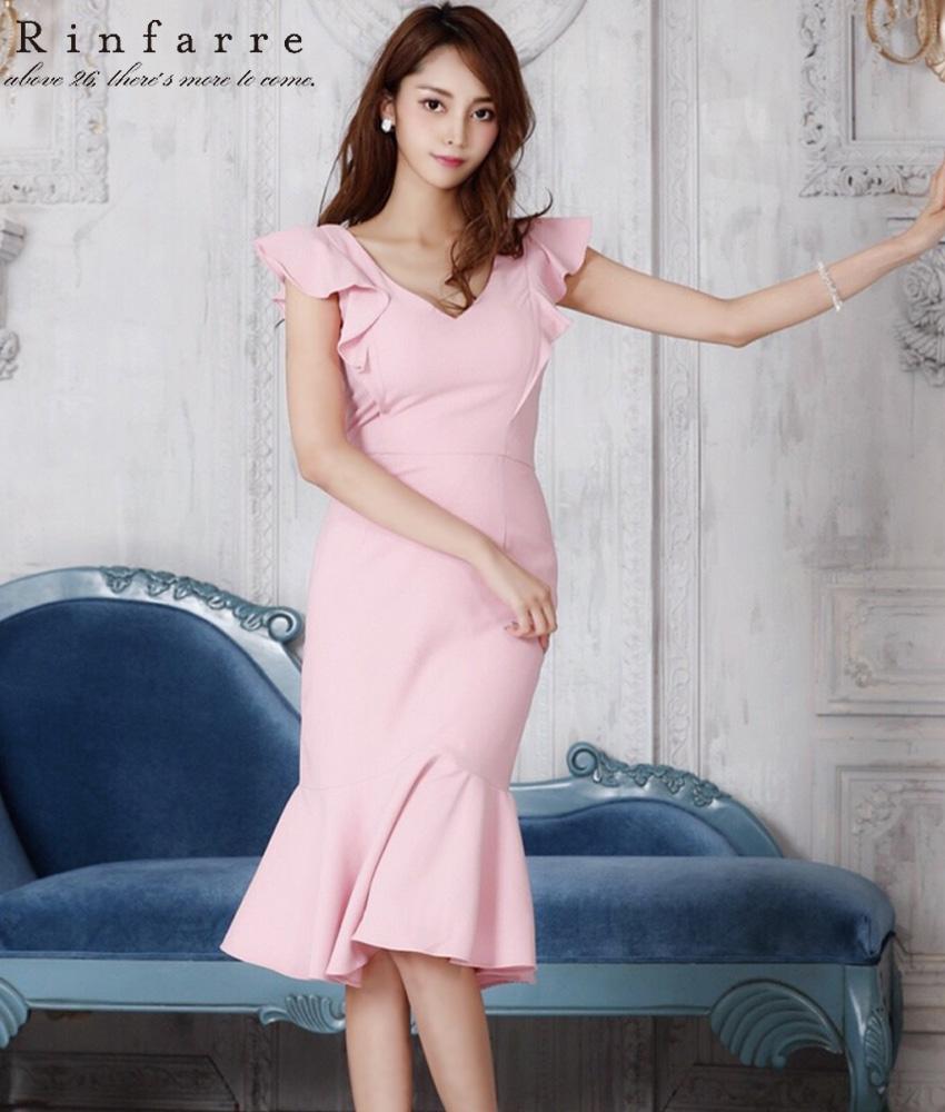 画像1: [韓国製][Rinfarre][関あいか着用]フリルノースリーブ・ピンク・マーメイド・裾フリル・Vネック・ミディアムドレス・ワンピース[送料無料]