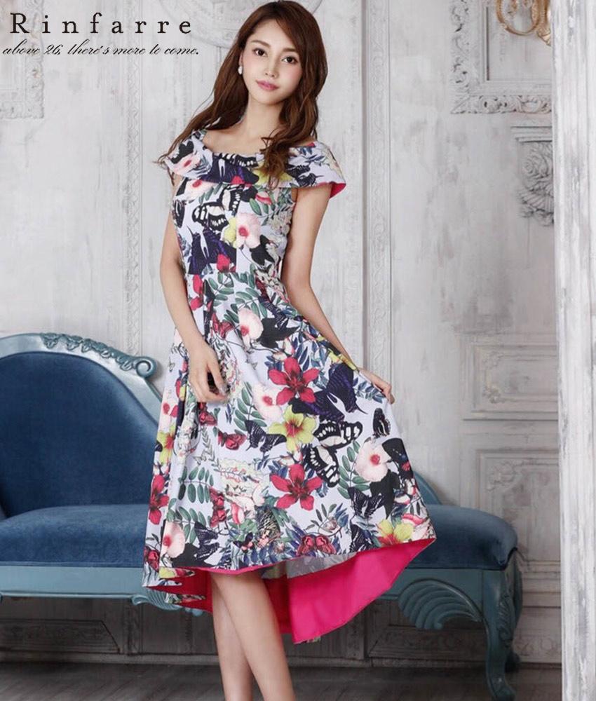 画像1: [韓国製][Rinfarre][関あいか着用]バタフライ&花柄・2カラー・オフショルダー・Aライン・フロントミニ・アシメントリー・ミディアムドレス・ワンピース《送料&代引き手数料無料》