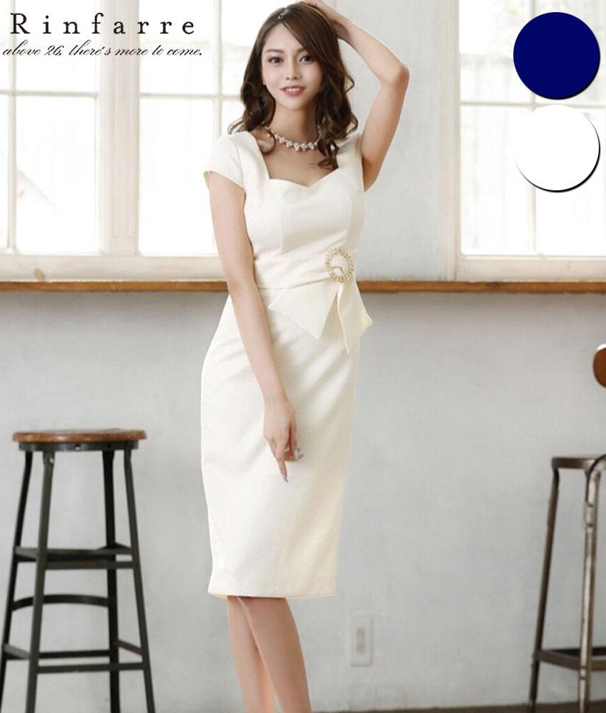 画像1: [Rinfarre][関あいか・山崎みどり着用][姉ageha]シンプル・ウエストバックル・ジャガード・ベルト風・半袖・タイト・ミディアムドレス・ワンピース[送料無料]