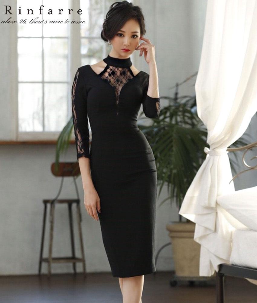 画像1: [お問い合わせ多数!!再入荷][韓国製][Rinfarre][山崎みどり着用][姉ageha]ブラック・インナーレース・レイヤード・七分袖・胸元カット・タイト・ミディアムワンピース・ドレス[送料無料]