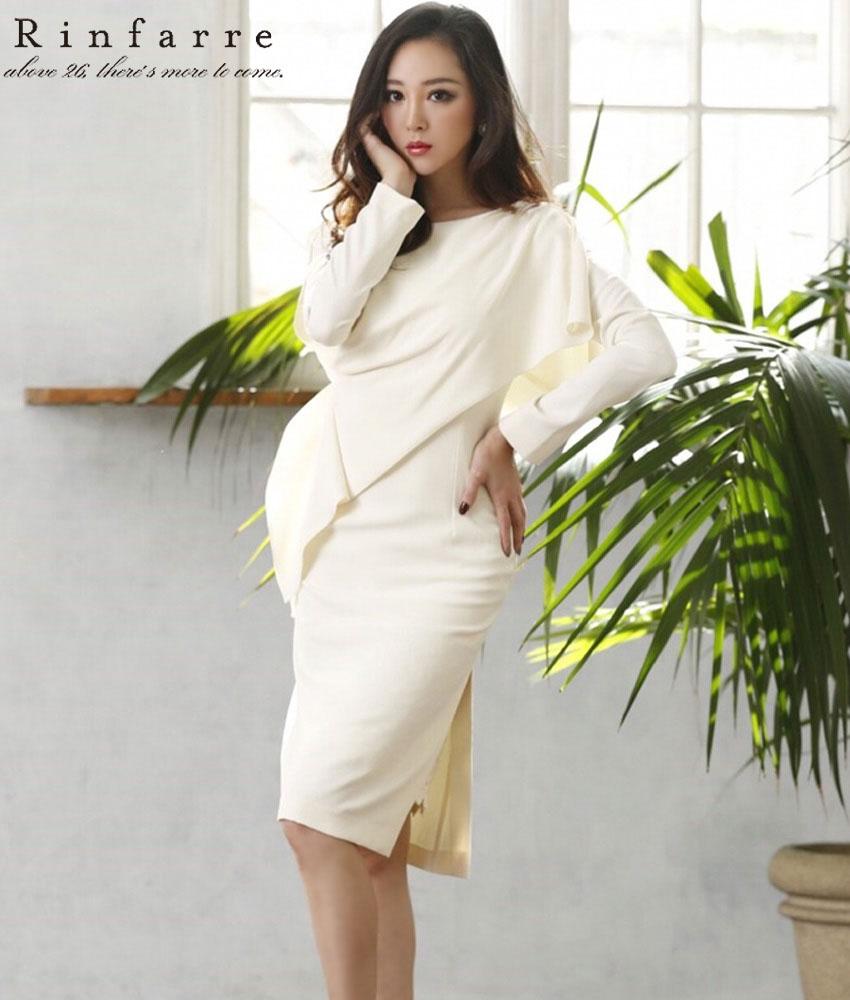 画像1: [韓国製][Rinfarre][山崎みどり着用][姉ageha]ハイクラス・変形・ホワイト・長袖・スリット・レースポイント・タイト・ミディアムドレス・ワンピース《送料&代引き手数料無料》