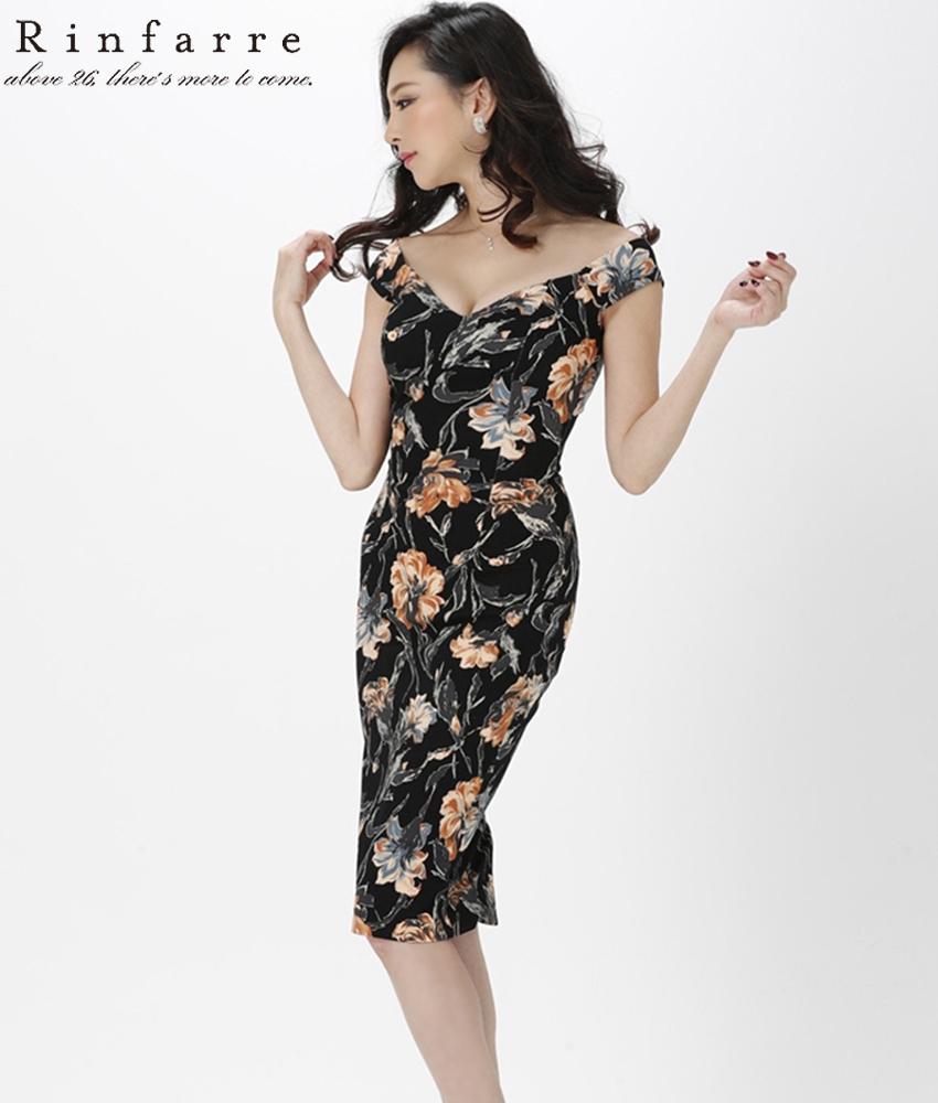 画像1: [韓国製][Rinfarre]ブラック×ブラウン・花柄・タイト・大人・ミディアムドレス・ワンピース[山崎みどり着用][送料無料]
