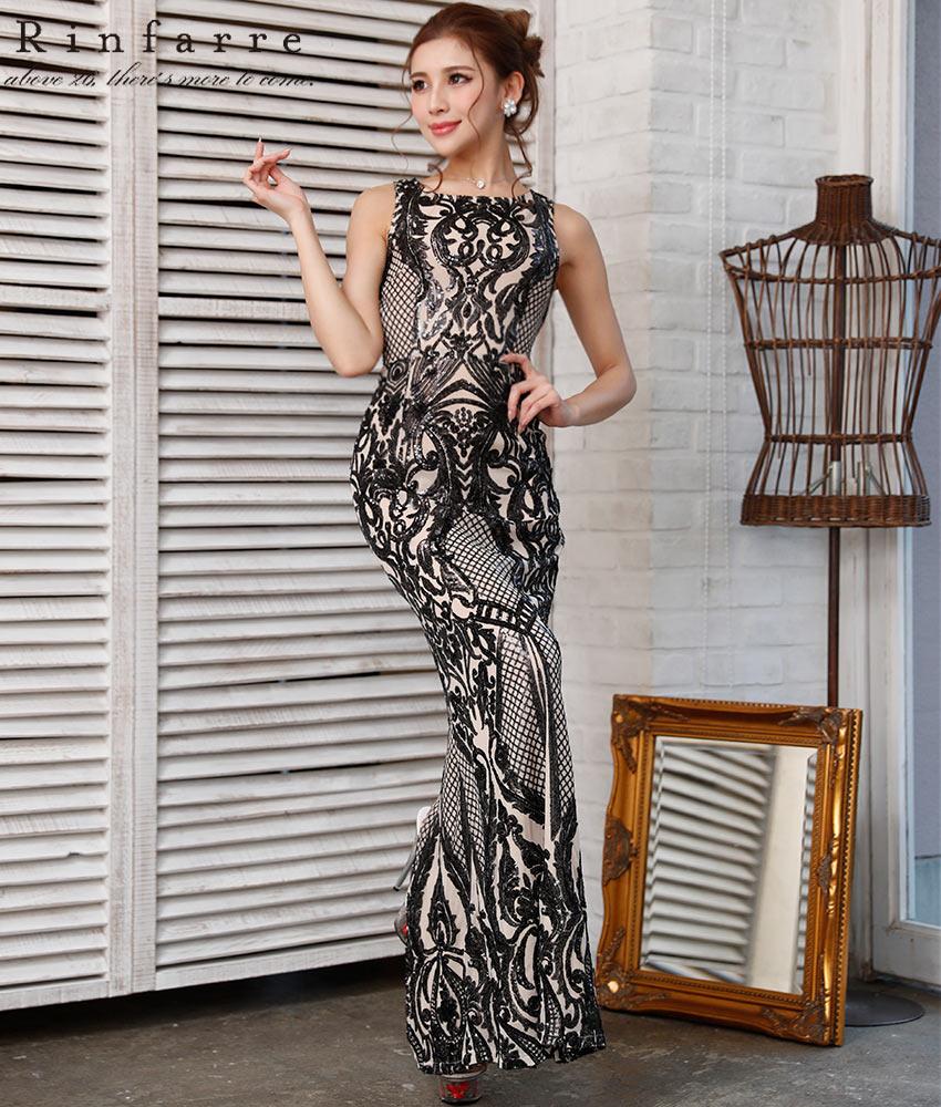 画像1: [韓国製][Rinfarre]ブラック系・総スパンコール・デザイン刺繍・アンティーク調・ノースリーブ・タイト・ロングドレス[MIRIN着用]《送料&代引き手数料無料》
