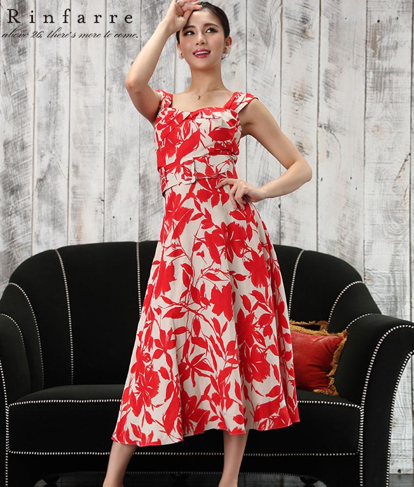 画像1: [韓国製][Rinfarre]レッド花柄・ノースリーブ・トップス・ベルト付き・フレア・Aライン・ミディアムスカート・セットアップ・ツーピース[MIRIN着用]《送料&代引き手数料無料》
