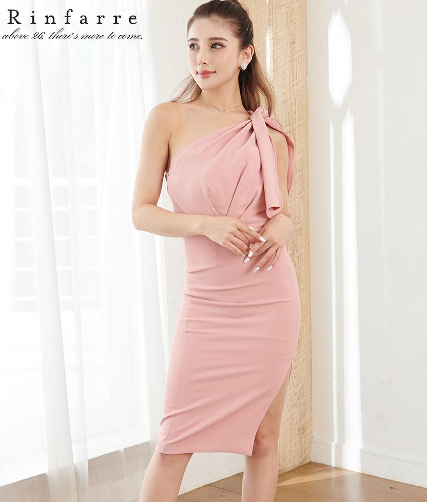 画像1: [韓国製][Rinfarre]ピンク系・シンプル・ワンショルダー・肩リボン・タイト・ミディアムドレス・ワンピース[MIRIN着用][送料無料] (1)