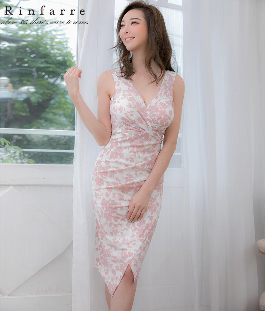 画像1: [韓国製][Rinfarre]ホワイト×ピンク花柄・カシュクール・Vネック・ノースリーブ・ミディアムドレス・ワンピース[山崎みどり着用][送料無料]my (1)