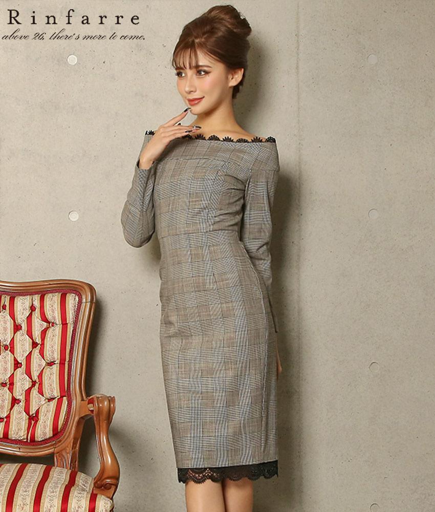 画像1: [韓国製][Rinfarre]グレー・ポイントレース・グレンチェック・オフショルダー・長袖・タイト・ミディアムドレス・ワンピース《送料&代引き手数料無料》